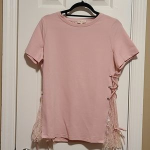 Mauve Top with Lace side panels